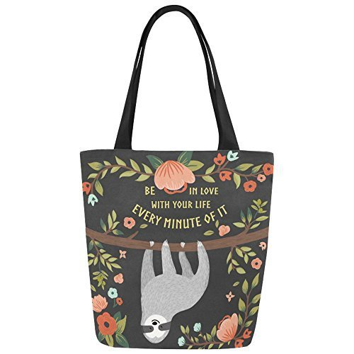 InterestPrint Funny Sloth with Quote Canvas Tote Bag Shoulder Handbag for Women Girls