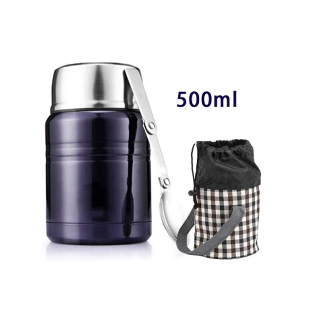 Boîte à lunch tonneau isolée sous vide en acier inoxydable Thermos Food Flask avec cuillère et fourre-tout pliables (Couleur : Red, taille : 500ml) TDMLFF