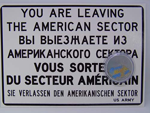POSTCARD WITH SMALL AUTHENTIC PIECE OF THE BERLIN WALL'Checkpoint Charlie sign', Germany ...