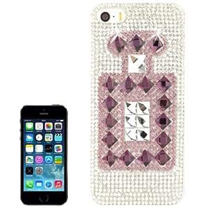 Perfume Bottle Pattern Diamond Encrusted Crystal Case Cover Carcasa para iPhone 5 5S & (Purple)