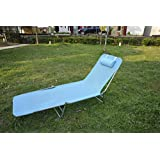 Outsunny Portable Adjustable Reclining Seat Folding Garden Chaise Lounge Outdoor Camping Beach Lounging Bed with Pillow (Blue)