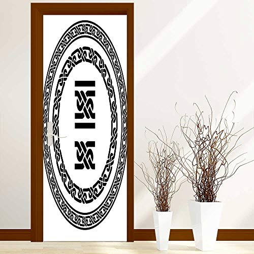(Stickers Home Door Decoration Collection Old Fashion Lace Celtic Knots Symbol Medieval Design Artsy Vikings Theme Graphic for Living Bedroom W38.5 x H77 inch)