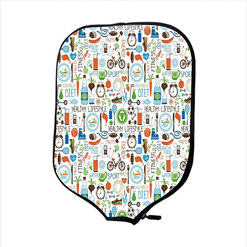 iPrint Neoprene Pickleball Paddle Racket Cover Case,Fitness,Sports and Diet Balance Nutrition Bicycle Organic Fresh Food Poultry Juice Vitality,Multicolor,Fit for Most Rackets - Protect Your Paddle