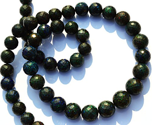 JP_Beads 1 Strand Natural Australian Matrix Black Opal Pin Fire 9 to 12MM Faceted Round Beads 18 inch ()