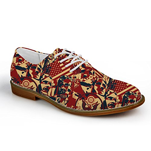 HUGS IDEA HUGSIDEA Flags Pattern Vintage Mens Oxford Flats Lace Up Shoes Leaf 3 c05sVxsk