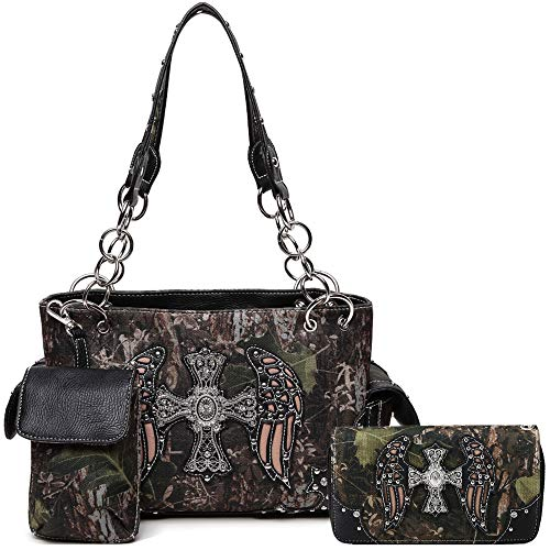 Camouflage Cross Western Style Studded Handbag Concealed Carry Purse Country Women Shoulder Bag Wallet (Black Set)