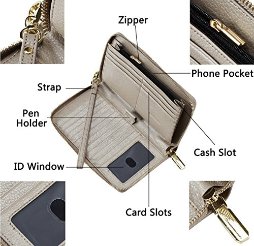 Genuine Leather Blocking Deep Wallet Card Womens Purse Geunine Simpacx Clutch Gray Credit Rfid gxqaUwS