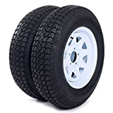 MILLION PARTS Set of 2 15' Trailer Tires Rims ST205/75D15 Tire Mounted (5x4.5) Bolt Circle White Spoke Trailer Wheel With Bias Black