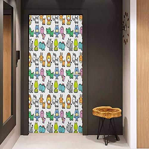 Onefzc Glass Door Sticker Decals Doodle Cartoon Style Animals Lion Zebra Frog Dinosaur Crocodile Bat Rhino Fun Illustration Door Mural Free Sticker W30 x H80 Multicolor ()