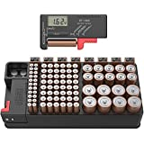 Battery tester and Battery storage organizer case, Batteries Storage box holds 110 batteries Various Sizes for AAA, AA, 9V, C and D size and Removable Battery Tester