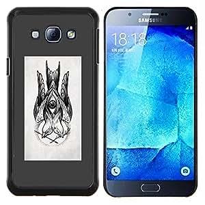 EJOOY---Cubierta de la caja de protección para la piel dura ** Samsung Galaxy A8 A8000 ** --dibujo boceto gris lápiz de tinta negro