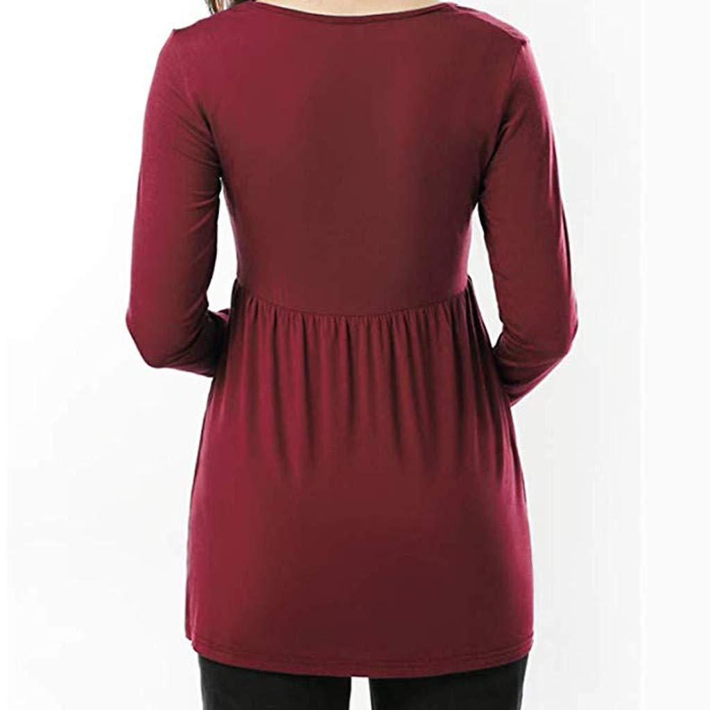 Allence Bekleidung Damen Umstandsmode T Shirt Langarm Schwangerschaftsmode Schwangere Frauen Basic T-Shirt Umsstandsshirt als Geschenk f/ür Schwangere
