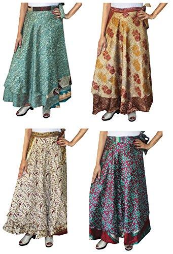 Skirt Wrap Indian - Maple Clothing Wholesale 4 Pcs Lot Two Layers Women's Indian Sari Magic Wrap Around Long Skirt