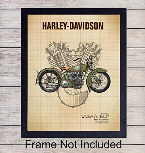 Harley Davidson Motorcycle Patent Print Wall Art - H.O.G. - Vintage Home Decor Man Cave, Den, Living Room, Office, Garage - A Perfect Gift for Men, HOG Riders - 8x10 Photo - Unframed ()