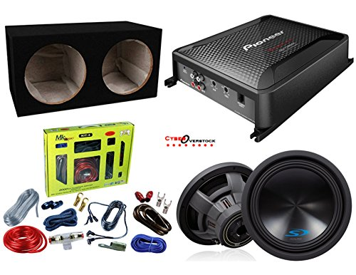 "Pioneer GM-D8601 Class D Mono Amplifier With Alpine SWS-12D4 12"" Dual-Voice-Coil 4-Ohm Subwoofer SWS12D4, MK Audio Kit 4, Absolute DSS12 Double 12"" Box And Free RCA cable"