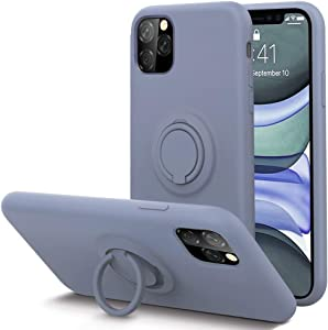 KUMEEK for iPhone 11 Pro Max Case Fingerprint | Kickstand | Anti-Scratch | Microfiber Liner Shock Absorption Gel Rubber Full Body Protection Liquid Silicone Case for iPhone 11 Pro Max-Lavender Grey
