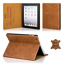 32nd® Premium Leather Folio Case for Apple iPad Air 2 (iPad 6th Generation), case made from genuine luxury Italian leather - Tan