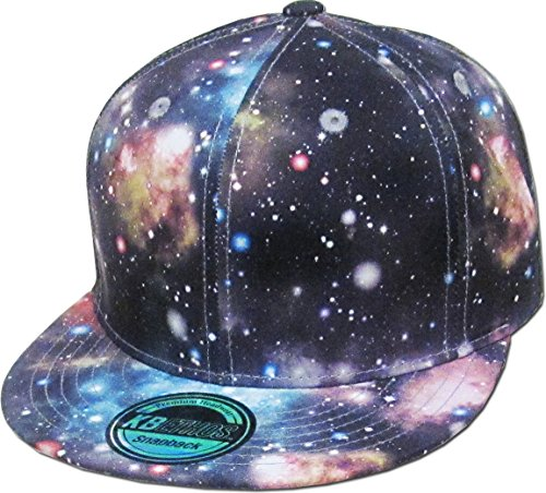 KBETHOS KNW-1469ALL-GX LGY Galaxy Print Brim Snapback Hat Cap