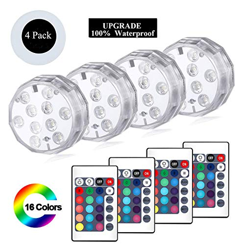 YUNLIGHTS Submersible Led Lights, Waterproof Led Lights Battery Operated with Remote Controller Decoration Lights for Aquarium Vase Base Pond Wedding Halloween Party (4 Pack)]()