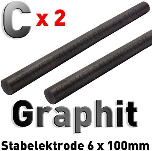 Tampongalvanik für Stiftgalvanik 10 cm x 6 mm Graphit-Stab-Anode // Elektrode