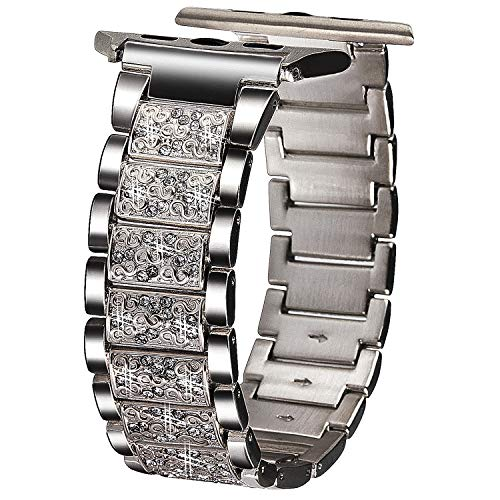 VIQIV Bling Bands for Compatitle Apple Watch 40mm 44mm Iwatch Series 4, Diamond Rhinestone Stainless Steel Metal Bracelet Wristband Strap for Women (Rhinestone Girl Party)
