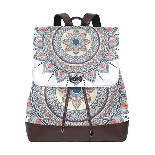 PU Leather School Backpack Mandala Psychedelic Magical drawstring for Travel Rucksack Daypack Casual Duffel Shoulder Bag