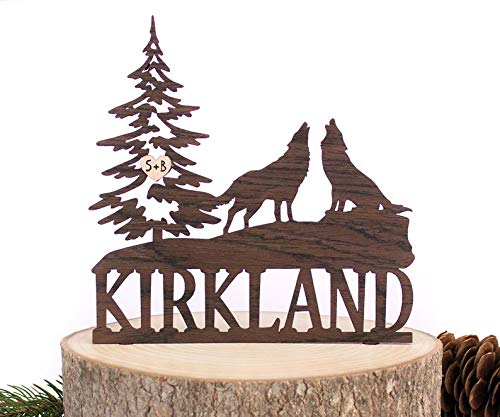 Rustic Wedding Cake Topper. Fir Tree with Wolves Cake Topper. Mr and Mrs Cake Topper. Engagement Cake Topper. Natural Wood Cake Topper