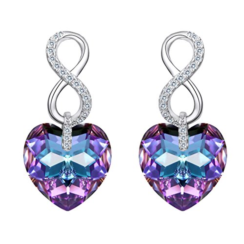 (EVER FAITH 925 Sterling Silver CZ Infinity Heart Earrings Purple Adorned with Swarovski Crystals)