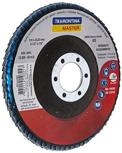 Tramontina 42616002, Disco Flap Cônico Diâmetro 4.1/2, Lixa com Grãos de Zircônia 60, 13300 Rpm