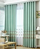 Smibra Pastoral Style Attractive Flowers in The Mirror Pattern Embroidery Shading Curtain Natural Window Treatment Rod Pocket for Bedroom and Balcony(1 Panel, W52 x L95 inch, Blue2)