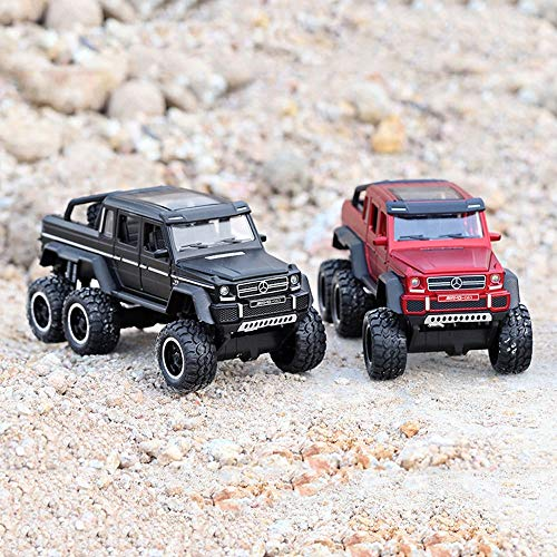 (Bseion Mercedes-Benz G63 Six-Wheeled Off-Road Vehicle 1:32 Alloy Simulation Car Model Sound and Light Pull Back Car Friction Inertia Toy Car Children's Birthday (Color : Red ))