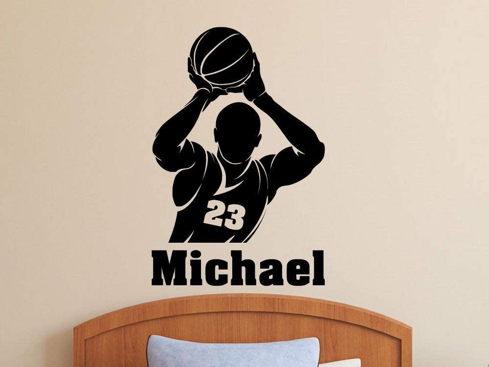 BASKETBALL PLAYERS personalised wall sticker kids bedroom wall decals