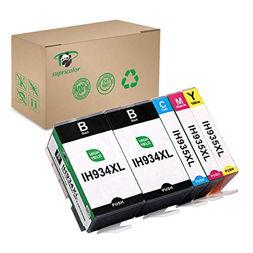 Supricolor Replacement 934XL 935XL Ink Cartridges, Compatible 934 935 Inks Work with OfficeJet Pro 6830 6820 6230 OfficeJet 6812 6815 6835 Printer 5 Pack (Hp Printer Cartridge 935)