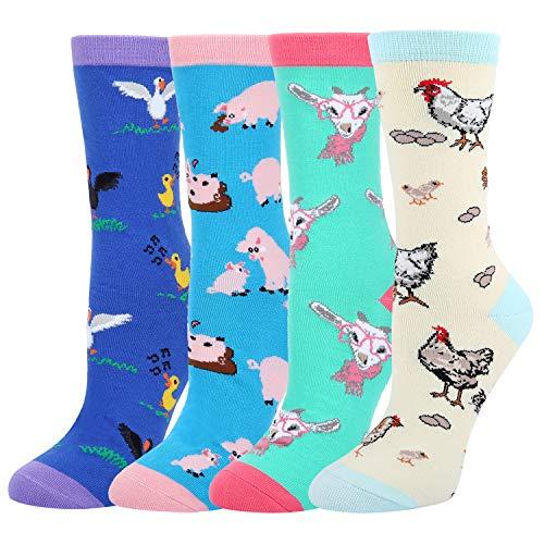 - Women's Novelty Funny Crazy Crew Socks, Chicken Hen Pig Duck Goat Farm Animal Socks 4 Pack with Gift Box
