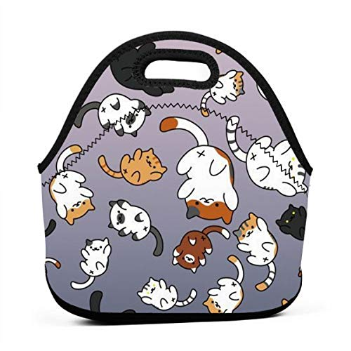 ONUPMIN Neoprene Funny Kitten Cats Portable Lunch Bag Carry Case Tote with Zipper Strap Box Container Bags Picnic Outdoor Travel Fashionable Handbag Pouch for Women Men Kids Girls
