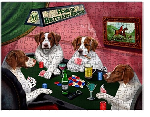 Brittany Spaniel Picture (Home of Brittany Spaniels 4 Dogs Playing Poker Puzzle with Photo Tin (551 pc.))