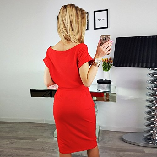 Sleeve Casual Belted Asskdan Women's Red Length Pockets Short Dress with Knee 7O14wqT