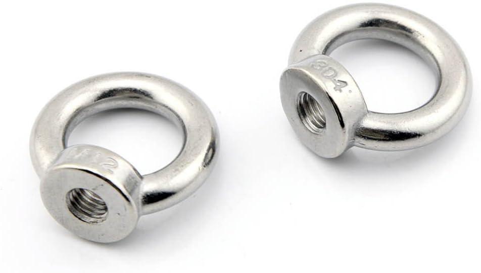 Yasorn 2-pack de rosca M6 anillo del ojo Tuerca inoxidable Acero tuerca de tornillo