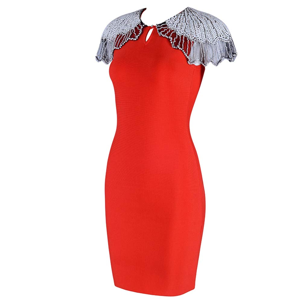 Lovelychica Women Cap Sleeves Beaded Side Zipper Sexy Bodycon Mermaid Party Maxi Dresses Red