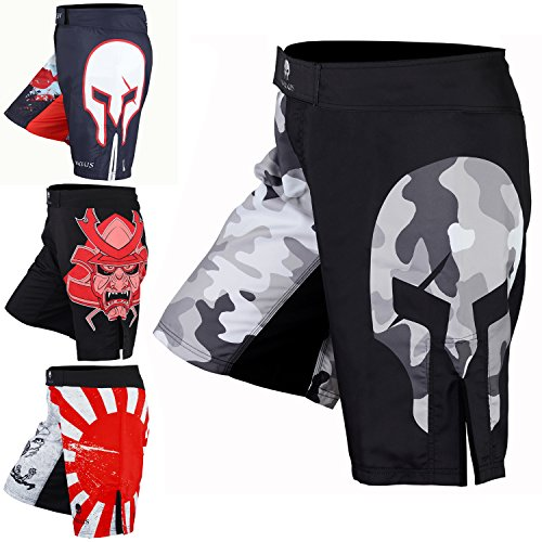 Men's Mixed Martial Art Shorts by VERUS (Black/Grey, Large)