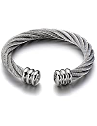 Large Elastic Adjustable Steel Twisted Cable Cuff Bangle Bracelet for Men Women