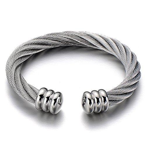 COOLSTEELANDBEYOND Large Elastic Adjustable Steel Twisted Cable Cuff Bangle Bracelet for Men Women Silver Color