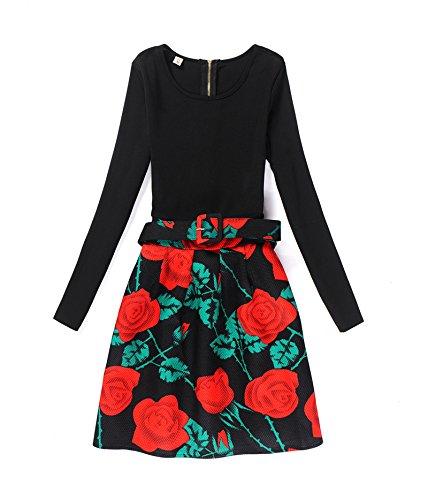 en lgante en Hippolo Robe imprime vintage 3 L 8 automne longues pour manches et porter et hiver femme 88qPwY5
