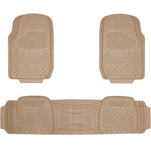 Oxgord 3pc Diamond Floor Mats for Car Pick-Up Truck SUV Van Sedan Hatchback Car Pick-Up Truck SUV Van Sedan Hatchback , Beige