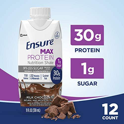 Ensure Max Protein Nutritional Shake with 30g of High-Quality Protein, 1g of Sugar, High Protein Shake, Milk Chocolate, 11 fl oz, 12 Count