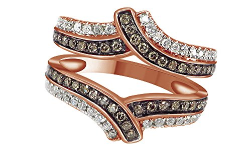 l Diamond Engagement Ring Wrap Guard Enhancer Ring 14K Solid Rose Gold (0.63 Ct) (14k Natural Champagne Diamond Ring)