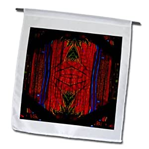 Jos Fauxtographee Abstract - Viva Las Vegas Flamingo Illuminated and Mirrored on a Page in Hues of Purple and Red - 18 x 27 inch Garden Flag (fl_54856_2)