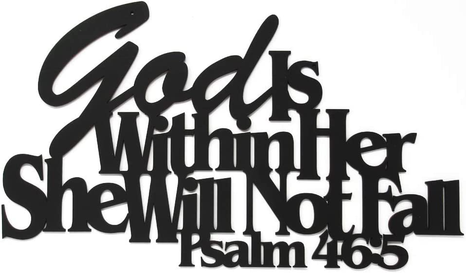 Inspirational Word Art, Christian Faith Biblical Verse Wall Sign, Hand-Made Wooden Decoration Plaque for Home, Office, Church, 17 x 10 inches (God is Within Her, She Will Not Fall)