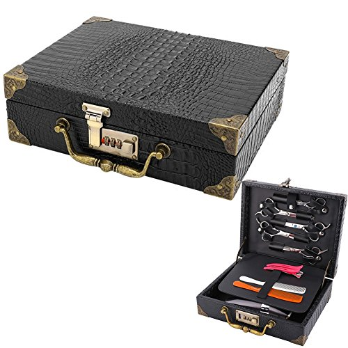 (SMITH CHU Professional PU Leather Salon Scissors Storage Case Holder with Coded Lock - Retro Hair Cutting Shears Organizer Box for Hairdressers Hair Stylist,Crocodile Pattern)