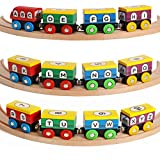 12 Piece ABC And 123 Wooden Engines & Train Cars, Compatible With Thomas Wooden Railway, Brio And Most Other Brands